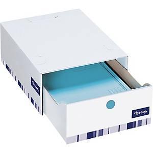 Opbevaringsskuffe Lyreco Premium, 14 cm, hvid, pakke a 10 stk.