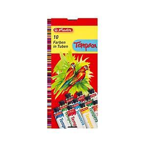 Temperové barvy Herlitz,  10 tub – 9 barev, 1x běloba, tuba 16 ml