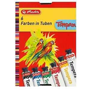 Herlitz temperafesték, 6 szín, tubus 16 ml