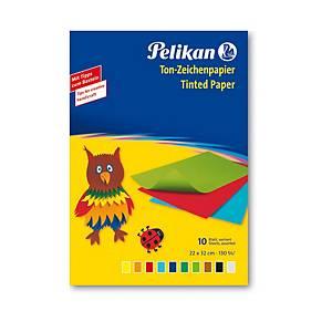 Barevné papíry Pelikan, 33 x 23 cm, 10 listů, 10 barev, 130 g/m²