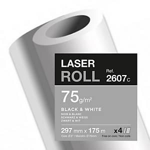 Papier pour copieur Clairefontaine - 75 g - rouleau 297 mm x 175 m - par 4