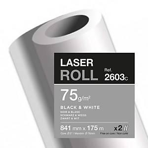 Papier traceur Clairefontaine Laser 2603C, 841mm x 175m, 75g/m2, pqt. De 2 roul.