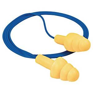 Öronproppar med snöre 3M E-A-R Ultrafit, gula/blå, förp. med 50 par