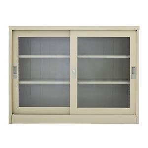 METALPRO MET-1275G STEEL SIDEBOARD WITH CLEAR WINDOW CREAM