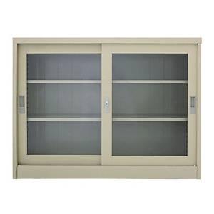 METALPRO MET-975G STEEL SIDEBOARD WITH CLEAR WINDOW CREAM