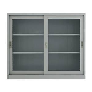 METALPRO MET-12110G STEEL SIDEBOARD WITH CLEAR WINDOW DARKGREY