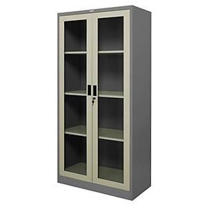 WORKSCAPE ZSG-756 Steel Swing Door Cabinet With Glass Grey