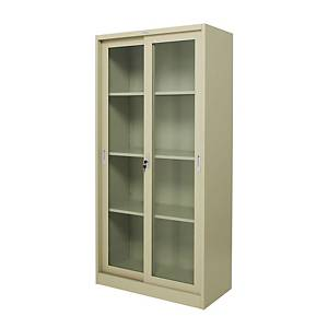 WORKSCAPE ZDG-1886 Steel Sliding Door Cabinet With Glass Cream