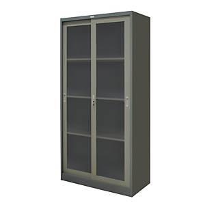 WORKSCAPE ZDG-1886 Steel Sliding Door Cabinet With Glass Grey
