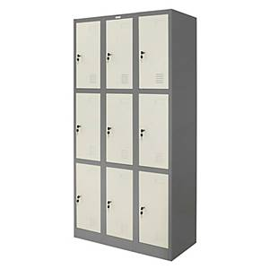 WORKSCAPE ตู้ล็อกเกอร์เหล็ก รุ่น ZLK-6109 9 ประตู สีเทาสลับ