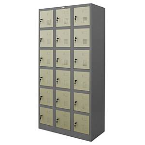 WORKSCAPE ตู้ล็อกเกอร์เหล็ก รุ่น ZLK-6118 18 ประตู สีเทาสลับ