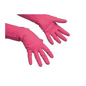 VILEDA PAIR LATEX GLOVES CLEANING M RED