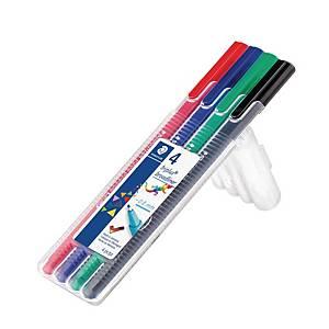 Fineliner Staedtler triplus broadliner, 0,8 mm, pakke a 4 farver