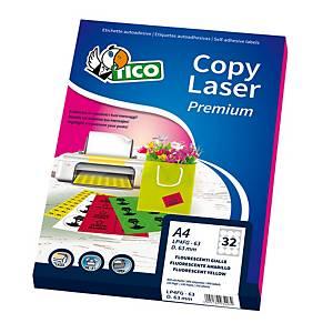 ETICHETTE TICO COPY LASER LP4FG-7036 70X36MM GIALLO FLUO CONF. 1.680