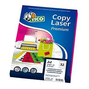 ETICHETTE TICO COPY LASER LP4FR-210297 210X297MM ROSSO FLUO CONF. 70