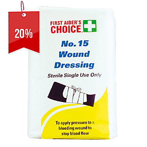 FIRST AIDERS CHOICE SINGLE USE NO.15 WOUND DRESSING LARGE - EACH
