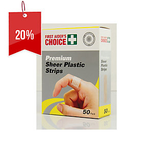 FIRST AIDERS CHOICE PREMIUM ADHESIVE SHEER PLASTIC STRIPS 19 X 72MM - PACK OF 50