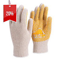 FRONTIER LARGE POLKA DOT POLYESTER/COTTON GLOVES WHITE/YELLOW - PAIR