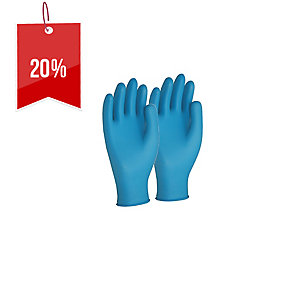 FRONTIER NITRILE LARGE DISPOSABLE GLOVES BLUE - BOX OF 100