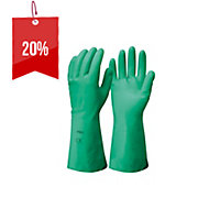 FRONTIER NITRILE MERCURY FLOCK LINED MEDIUM GLOVES GREEN - PAIR