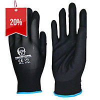 FRONTIER NITRILE EXTRA-LARGE BLACK SAND FINISH GLOVES BLACK - PAIR