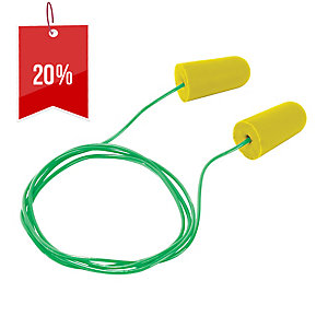 FRONTIER DISPOSABLE CORDED EARPLUGS YELLOW - PACK OF 5 PAIRS