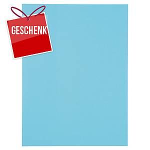Einlagemappe Lyreco A4, Karton 250 g/m2, mit Seitenklappe, blau, Pk. à 100 Stk.