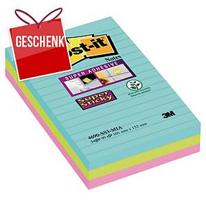 Post-it® - Super Sticky Haftnotizen liniert Miami-Farben, 101 x 152 mm, 3 Stück
