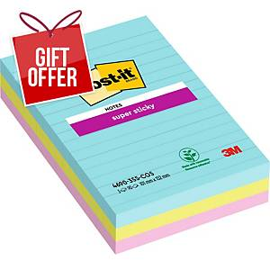 Post-It Super Sticky Notes Lined 101x152mm Miami Asst - Pack Of 3