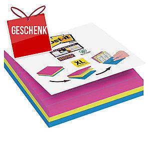 Post-it® - Super Sticky Haftnotizen liniert, Leuchtfarben, 101 x 101 mm, 3 Stück