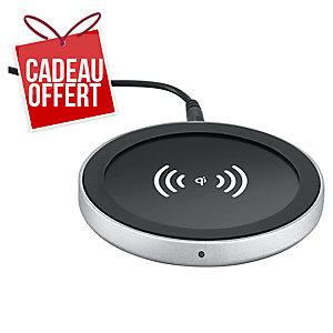 Base chargement + adaptateur Qi Auvertek - pour iPhone - noir/argent