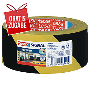 Klebeband Tesa 58130, Signalband, PVC, 50mm x 66m, gelb/schwarz
