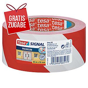 Klebeband Tesa 58131, Signalband, PVC, 50mm x 66m, rot/weiß