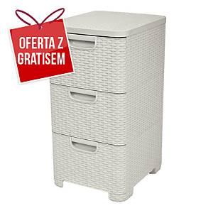 Regał CURVER Style Rattan, 3 szuflady, dł. 32,5 x szer. 37,5 x wys. 63 cm, beż
