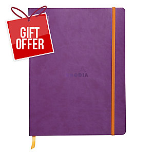 Rhodiarama Softback Notebook, 190X250mm, Lined - Purple