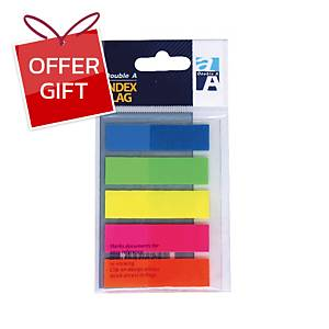 DOUBLE A INDEX FLAGS 0.47  X 1.7  ASSORTED FULL 5COLOURS