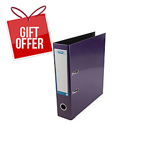 Elba Strongline Classy Lever Arch File A4+ 56mm Cap, 70mm Spine Metallic Purple