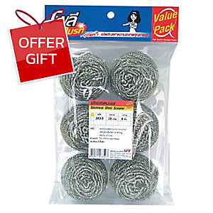 POLY-BRITE STAINLESS STEEL SCOURER - PACK OF 6