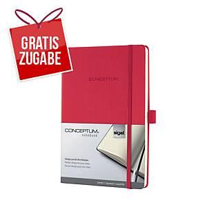 Notizbuch Sigel Conceptum CO654, A5, kariert, Hardcover, 194 Seiten, rot