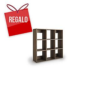 Librería Lyreco 9 casillas con medidas 128x40x128 roble