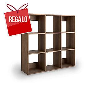 Librería Lyreco 9 casillas con medidas 128x40x128 nogal