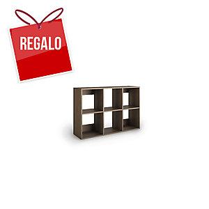Librería Lyreco 6 casillas con medidas 86x40x128 roble