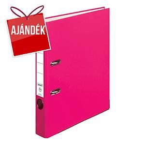 Herlitz Q.file emelőkaros iratrendező, gerincszélesség: 5 cm, szín: rózsaszín