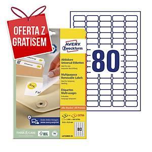 Uniwersalne etykiety usuwalne AVERY ZWECKFORM 35,6x16,9mm, białe, 2400 etykiet