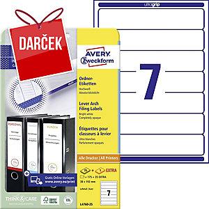 Etikety na zakladač Avery Zweckform, farba biela, rozmer 192 x 38 model L4760-25