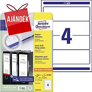 Avery Zweckform L4761-25 etikettek iratrendezőkre, szín: fehér, méret: 192x61 mm
