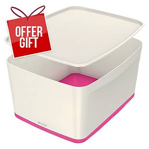 Leitz Mybox Large 18 Litre With Lid, Storage Box, Pink