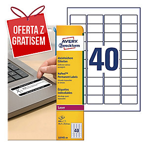 Etykiety zabezpieczające NoPeel Avery Zweckform, 45,7 x 25,4mm, 800 etykiet
