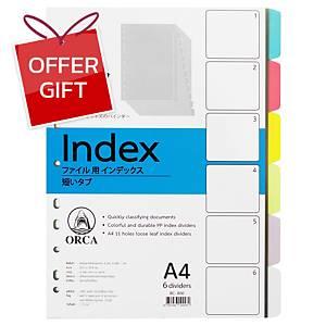 ORCA Plastic Paper Divider Index A4 6 Tabs 6 Colours