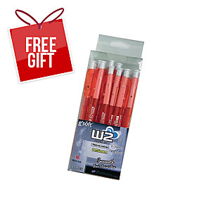 G SOFT W2 RETRACTABLE BALLPOINT RED PEN 0.5MM  - PACK OF 15